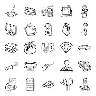 Pacote de ícones de mão desenhada de bancos e finanças