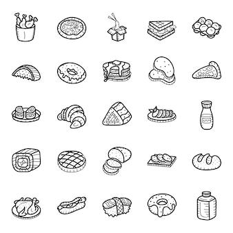 Pacote de ícones de mão desenhada itens de padaria