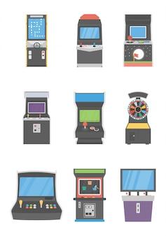 Pacote de ícones de máquinas caça-níqueis
