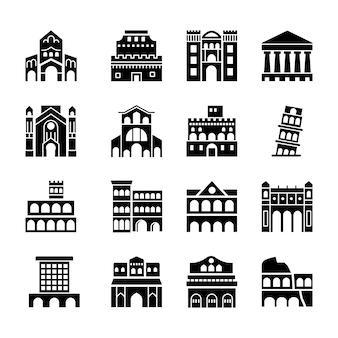 Pacote de ícones de marcos italianos de roma