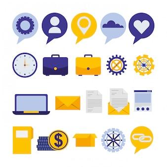 Pacote de ícones de marketing de mídia social