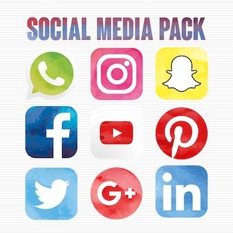 Pacote de ícones de mídia social aquarela