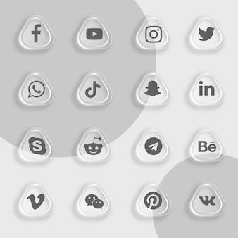 Pacote de ícones de mídia social com efeito de vidro transparente