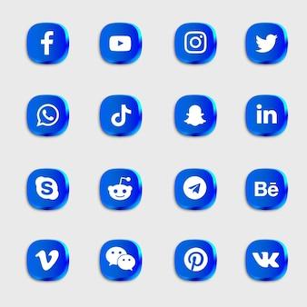 Pacote de ícones de mídia social com ícones azuis