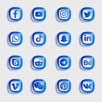 Pacote de ícones de mídia social com ícones de cores azuis