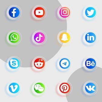 Pacote de ícones de mídia social com ícones de efeito de vidro transparente