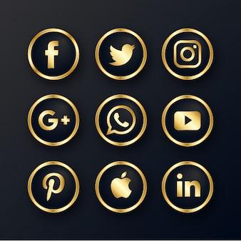 Pacote de ícones de mídia social de luxo dourado