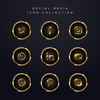 Pacote de ícones de mídia social dourada de luxo