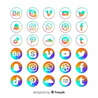 Pacote de ícones de mídia social gradiente