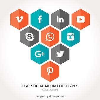 Pacote de ícones de mídia social hexagonais