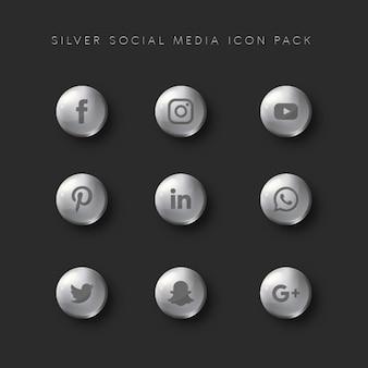 Pacote de ícones de mídia social prata
