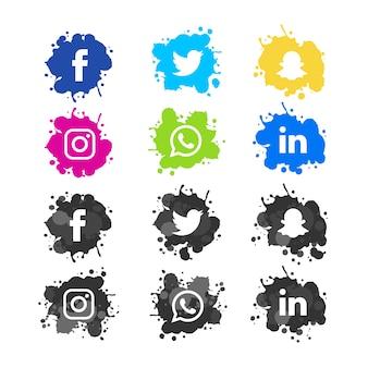 Pacote de ícones de mídia social splash aquarela moderna
