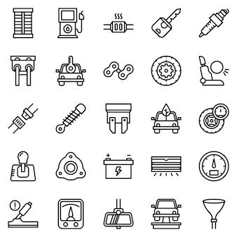 Pacote de ícones de motor de carro, com estilo de ícone de estrutura de tópicos
