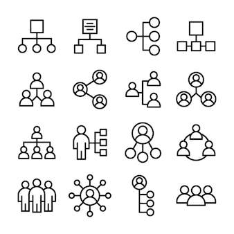 Pacote de ícones de organização de equipe