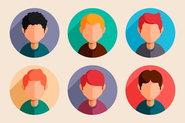 Pacote de ícones de perfil de design plano