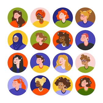 Pacote de ícones de perfil desenhado à mão