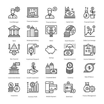 Pacote de ícones de poupança e investimento
