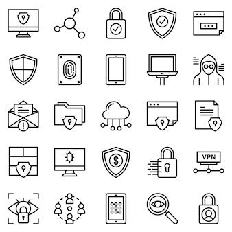 Pacote de ícones de segurança de proteção, com estilo de ícone de estrutura de tópicos