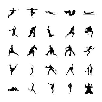 Pacote de ícones de silhuetas de esportes