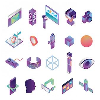 Pacote de ícones de tecnologia de realidade virtual