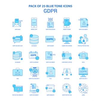 Pacote de ícones de tom azul gdpr