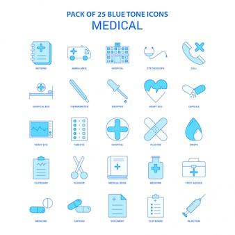 Pacote de ícones de tom azul médico