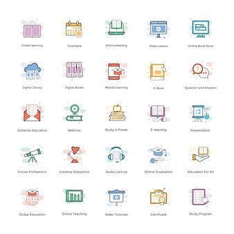 Pacote de ícones de vetor de e-learning