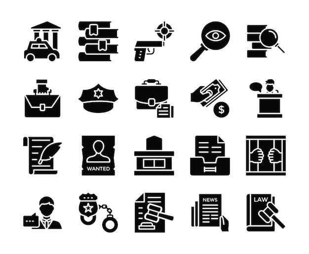 Pacote de ícones de vetor de lei e justiça