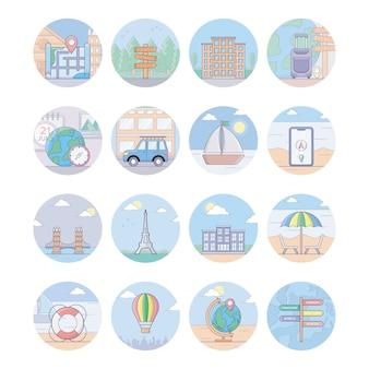 Pacote de ícones de viagens e turismo