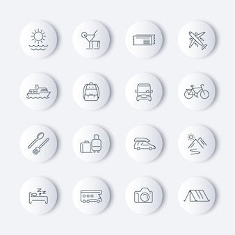 Pacote de ícones de viagens, turismo, viagem, linha de férias