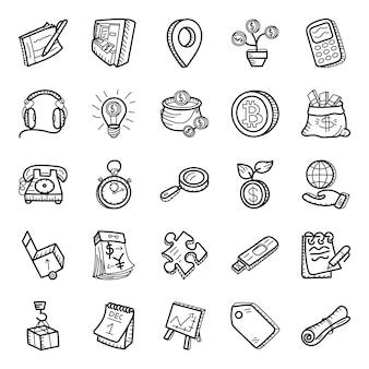 Pacote de ícones desenhados à mão de comércio
