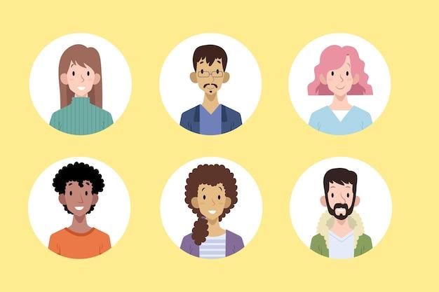 Pacote de ícones desenhados à mão para pessoas diferentes