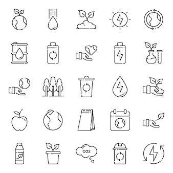 Pacote de ícones do ambiente, com estilo de ícone de estrutura de tópicos