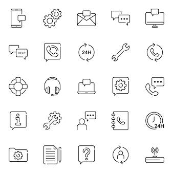 Pacote de ícones do cliente, com estilo de ícone de estrutura de tópicos