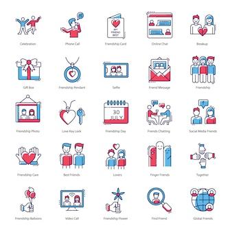 Pacote de ícones do compact of friendship day