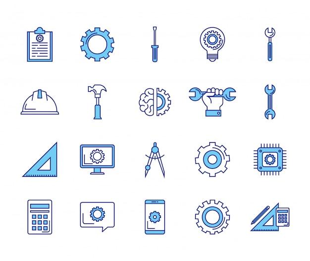 Pacote de ícones do conjunto de engenharia