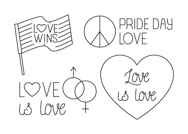Pacote de ícones do dia do orgulho, estilo de linha