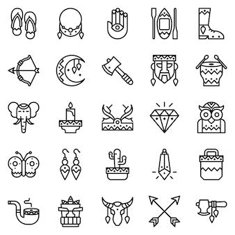 Pacote de ícones do estilo boho, com estilo de ícone de estrutura de tópicos
