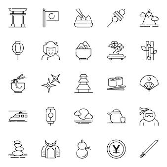 Pacote de ícones do japão, com estilo de ícone de estrutura de tópicos