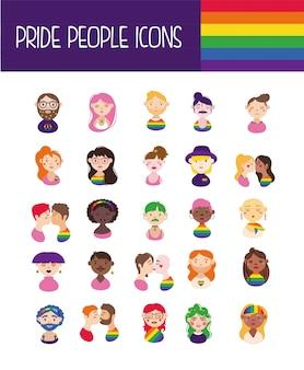 Pacote de ícones do orgulho gay e mão de pessoas desenhar estilo