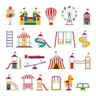 Pacote de ícones do parque de diversões conjunto