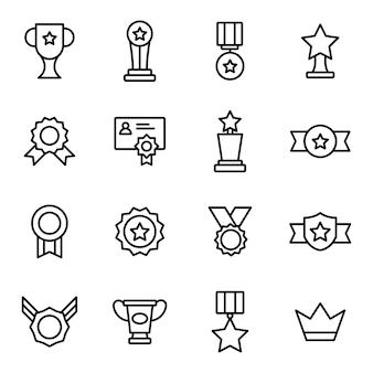Pacote de ícones do prêmio, com estilo de ícone de contorno