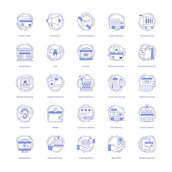 Pacote de ícones do vetor de compras