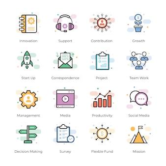 Pacote de ícones do vetor de crowdfunding