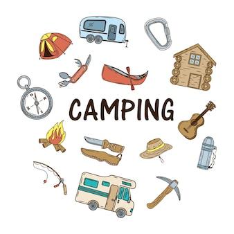 Pacote de ícones e letras de conjunto de camping