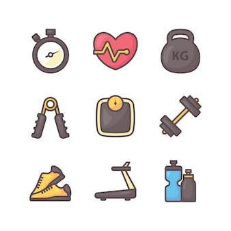 Pacote de ícones gym e fintess