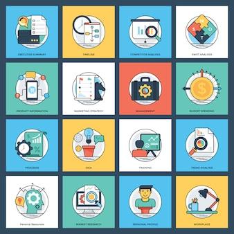 Pacote de ícones inovador plano de negócios