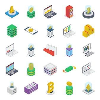 Pacote de ícones isométrica de dinheiro na internet