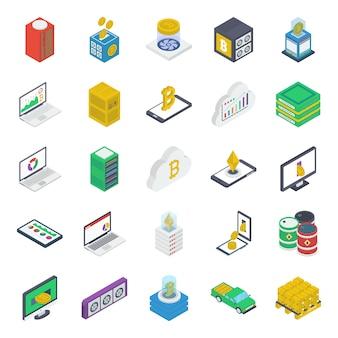 Pacote de ícones isométrica de economia de dinheiro