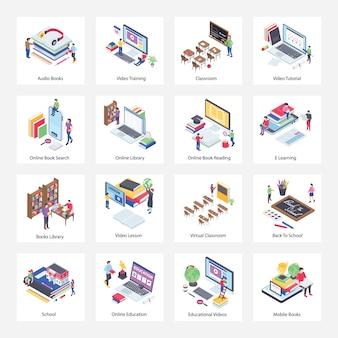 Pacote de ícones isométrica de educação on-line